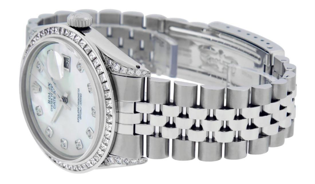 Rolex Mens SS MOP Diamond Lugs & Princess Cut Diamond - 6