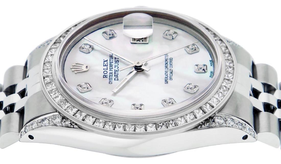 Rolex Mens SS MOP Diamond Lugs & Princess Cut Diamond - 7