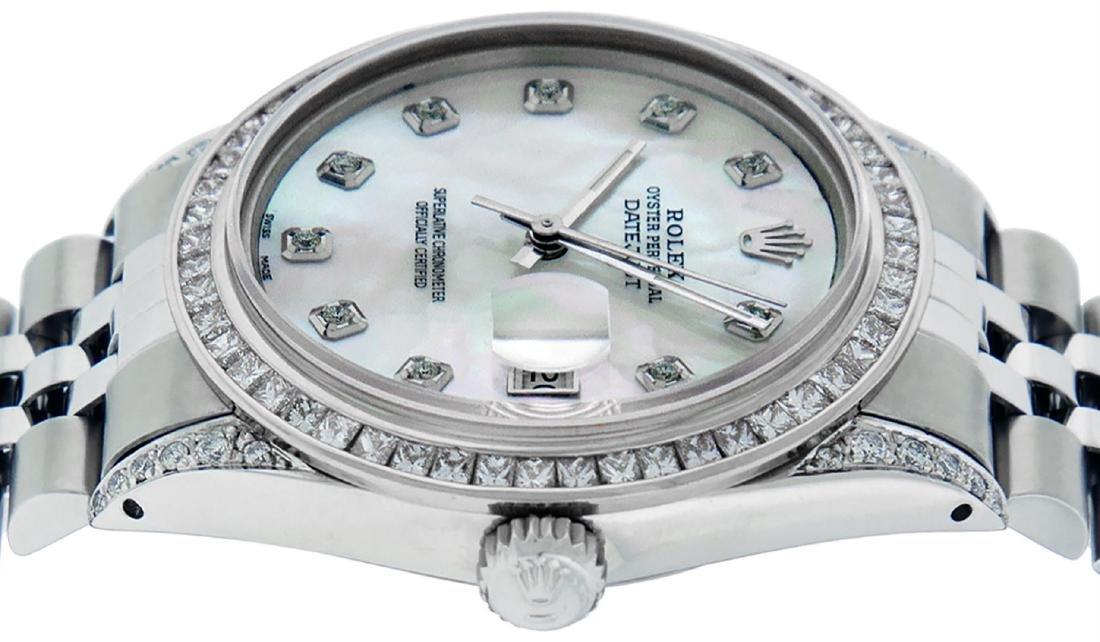 Rolex Mens SS MOP Diamond Lugs & Princess Cut Diamond - 8