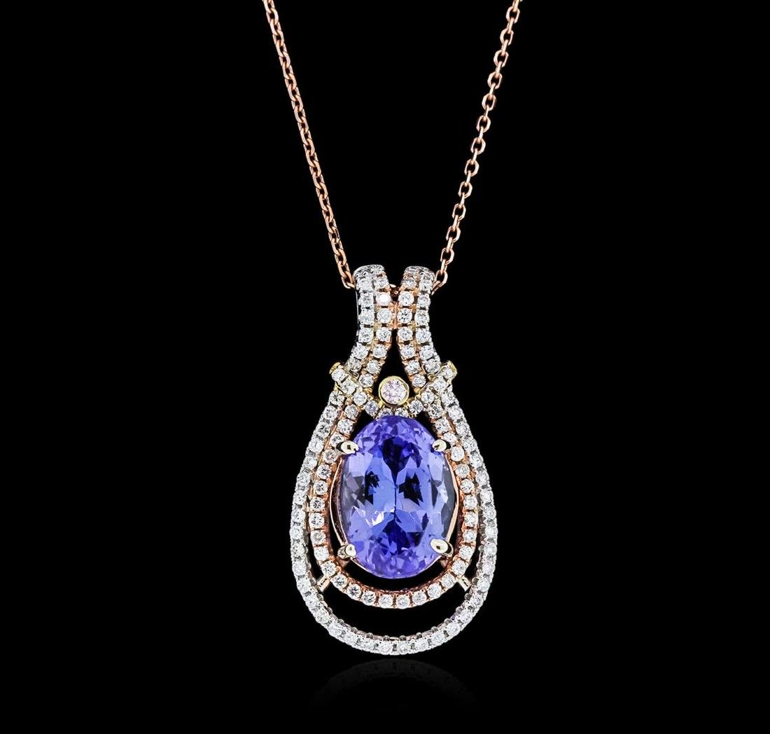 14KT Two-Tone Gold 3.95 ctw Tanzanite and Diamond