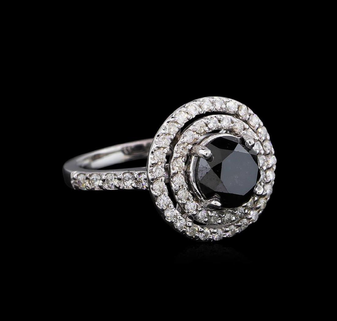 3.36 ctw Black Diamond Ring - 14KT White Gold