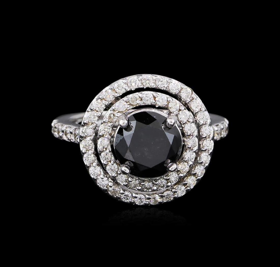 3.36 ctw Black Diamond Ring - 14KT White Gold - 2
