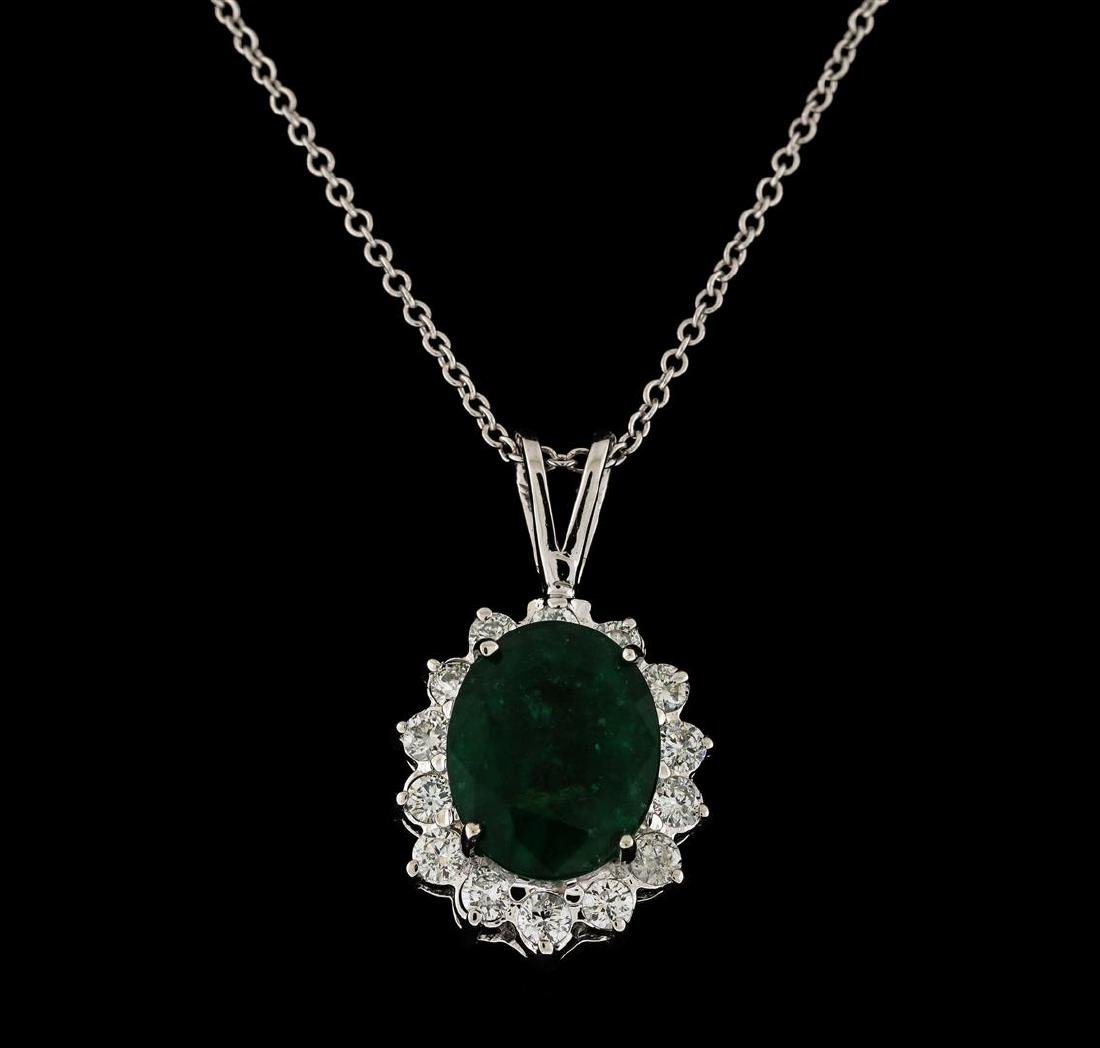 4.35 ctw Emerald and Diamond Pendant With Chain - 14KT - 2