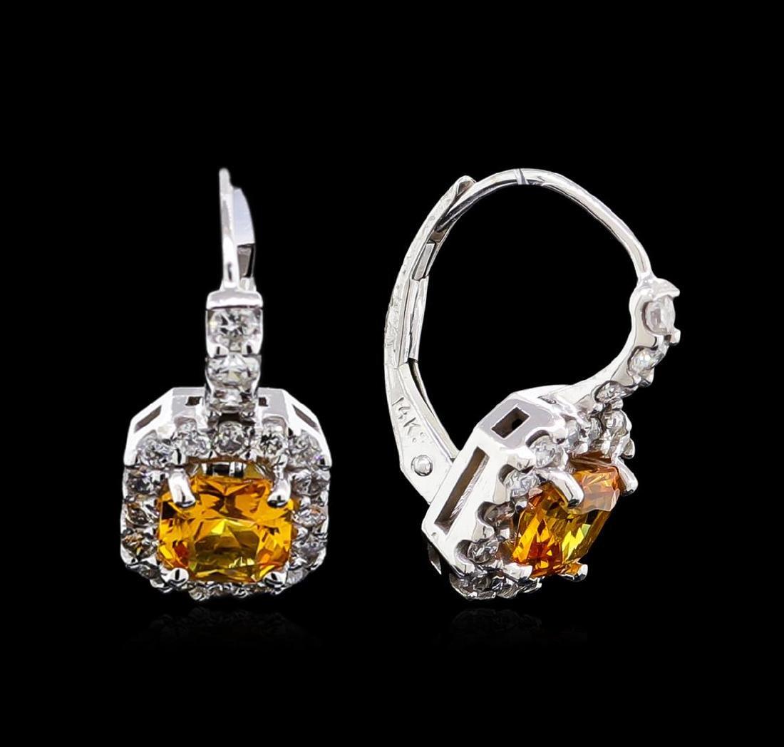 1.50 ctw Yellowish Orange Sapphire and Diamond Earrings - 2