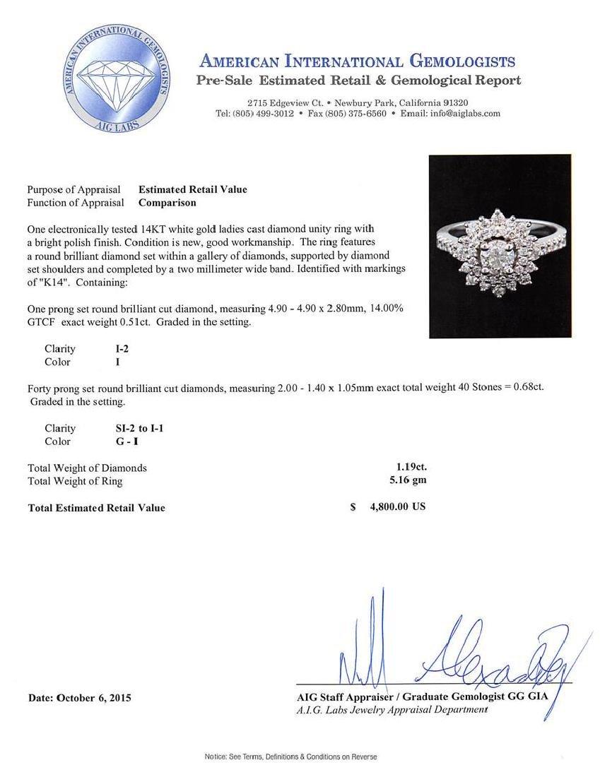 1.19 ctw Diamond Ring - 14KT White Gold - 3