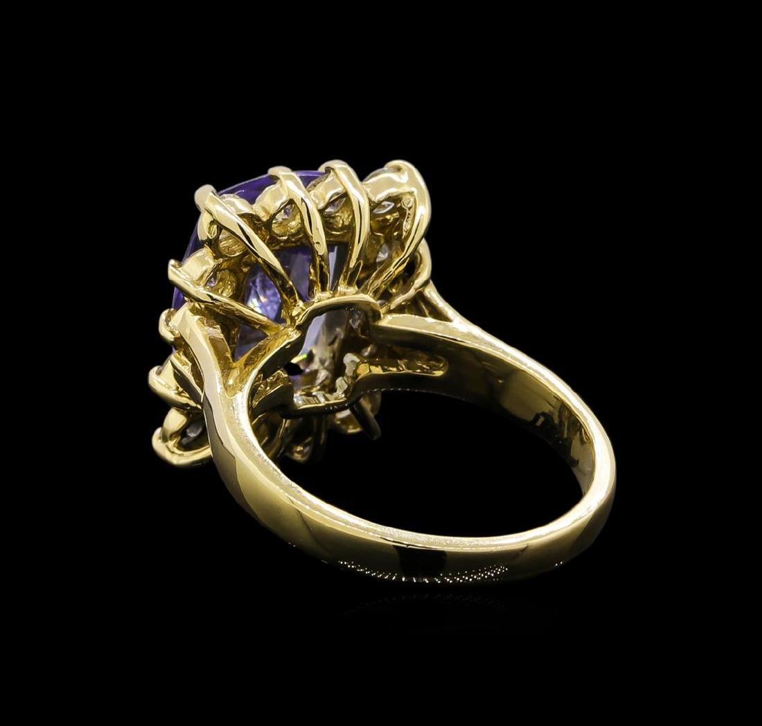 14KT Yellow Gold 5.15 ctw Tanzanite and Diamond Ring - 3