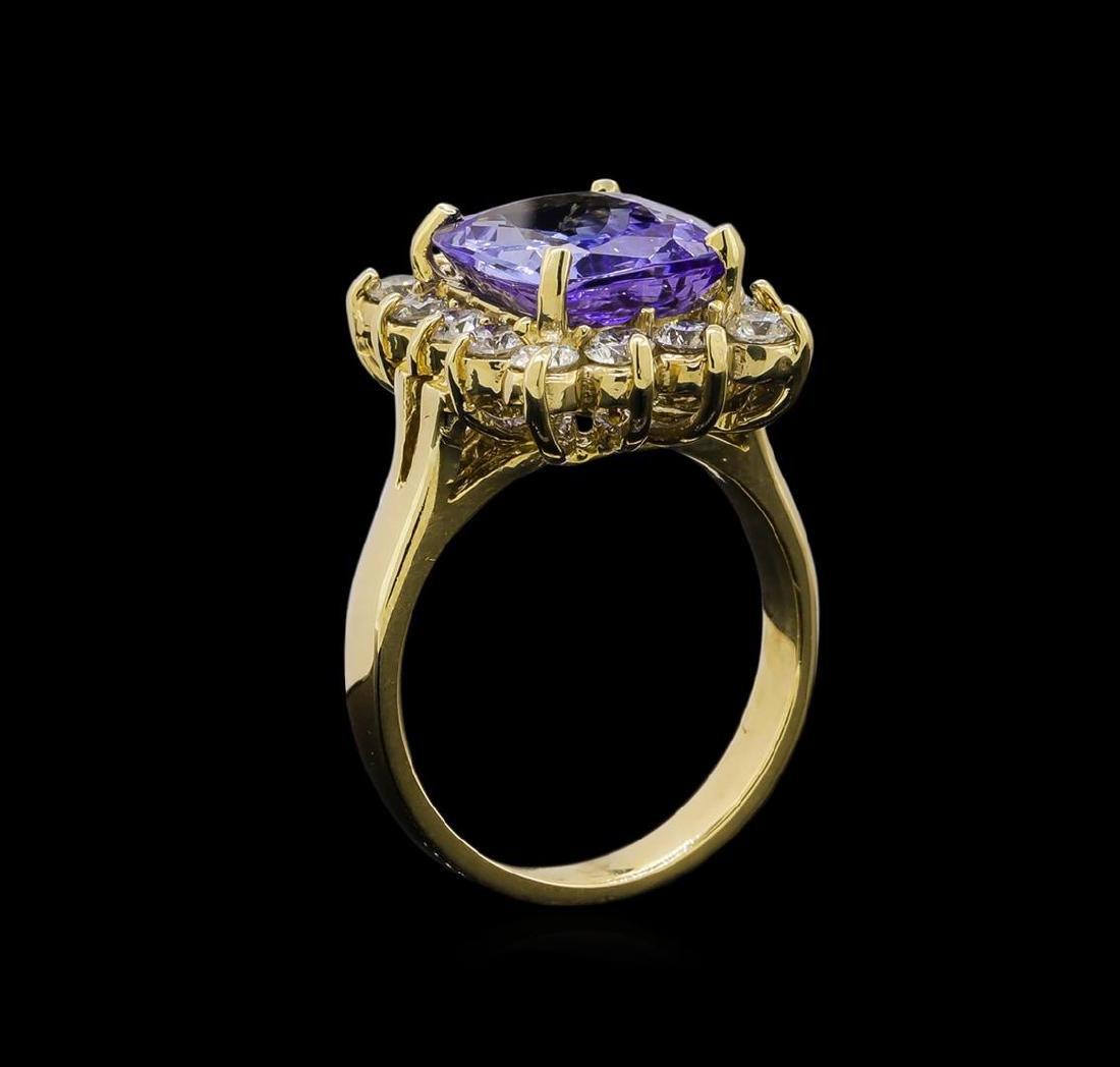14KT Yellow Gold 5.15 ctw Tanzanite and Diamond Ring - 4