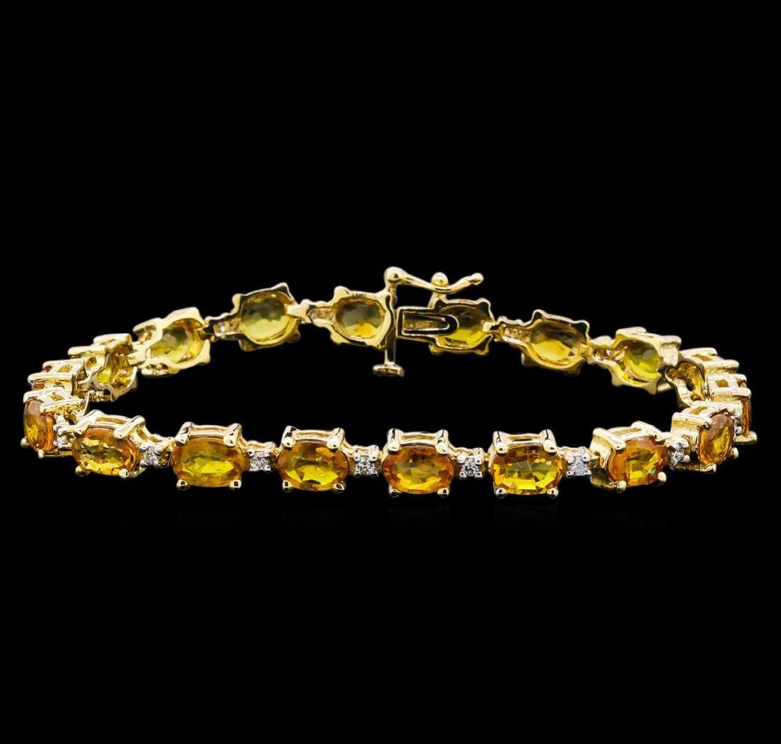 15.57 ctw Yellow Sapphire and Diamond Bracelet - 14KT