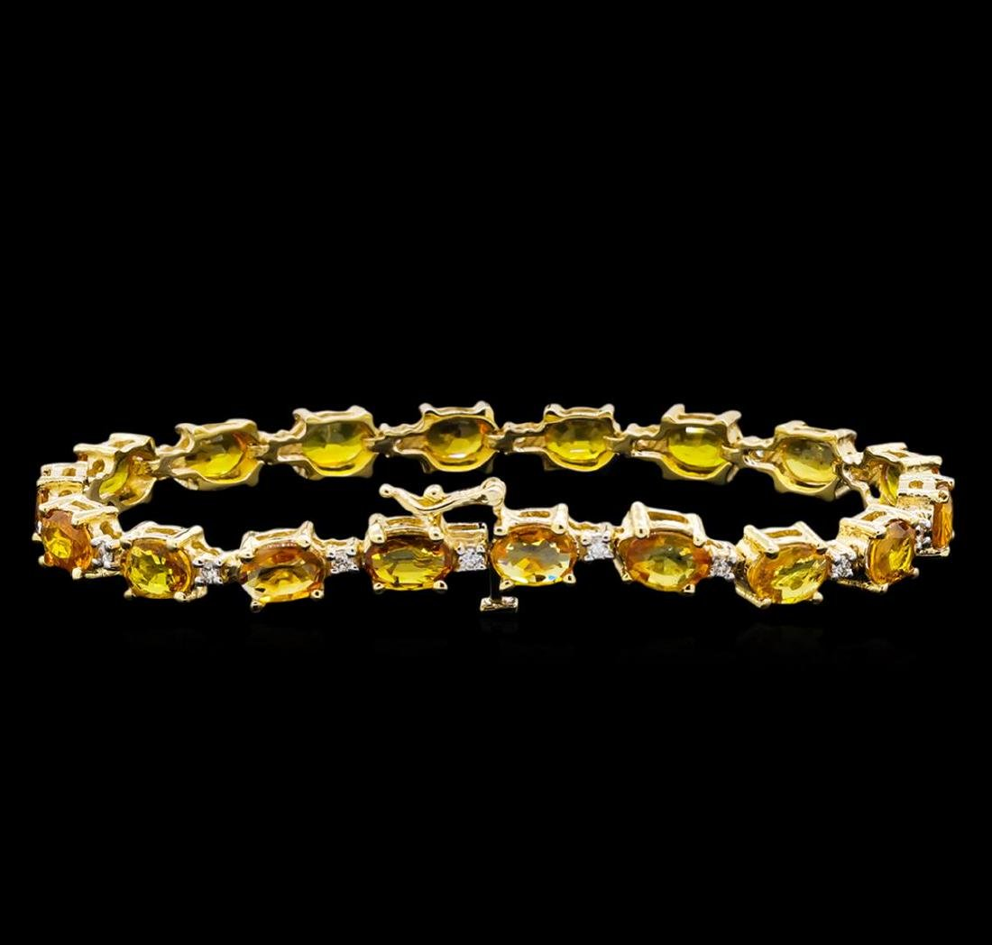15.57 ctw Yellow Sapphire and Diamond Bracelet - 14KT - 2