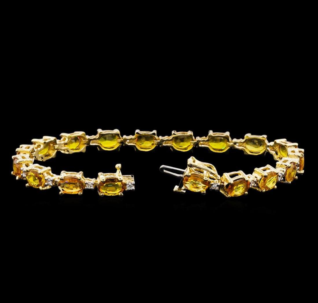 15.57 ctw Yellow Sapphire and Diamond Bracelet - 14KT - 3
