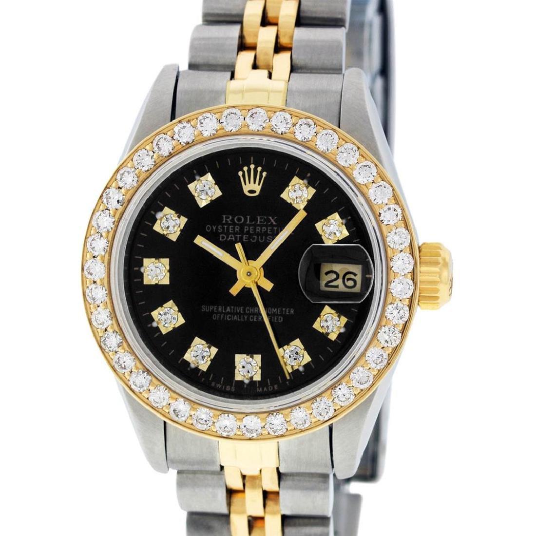 Rolex Ladies 2 Tone 14K Black Diamond Bezel & 1 ctw