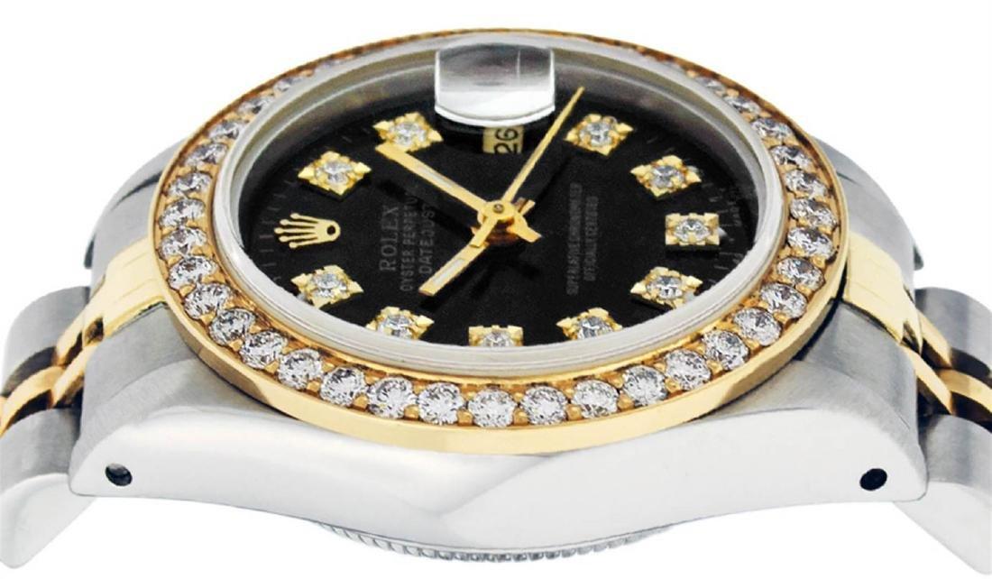 Rolex Ladies 2 Tone 14K Black Diamond Bezel & 1 ctw - 4