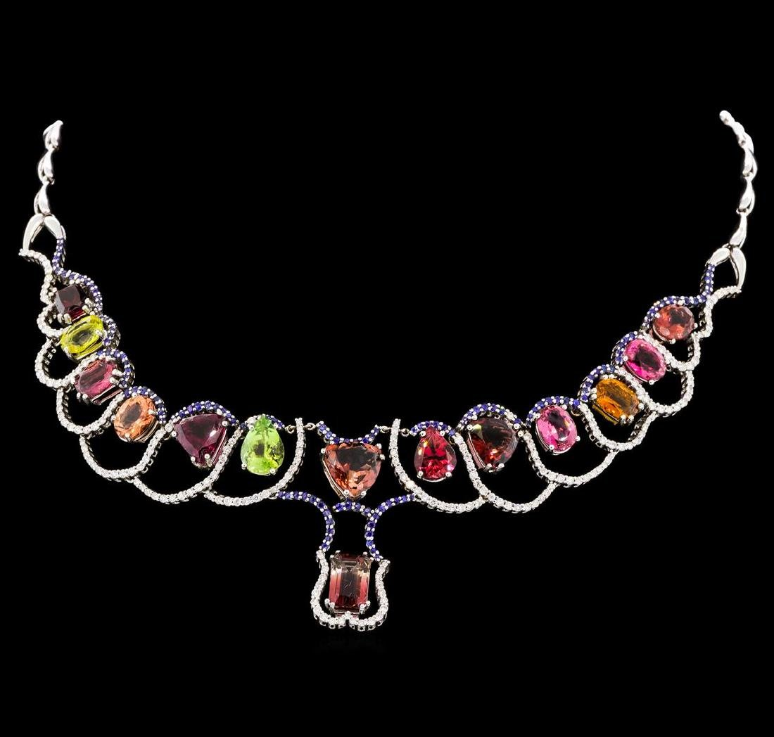 33.71 ctw Tourmaline and Diamond Necklace - 14KT White