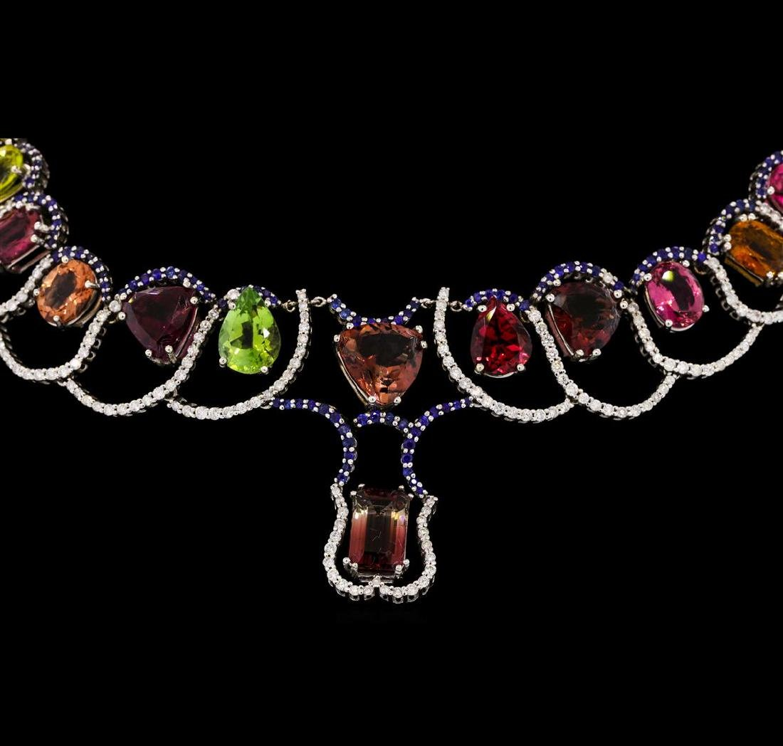 33.71 ctw Tourmaline and Diamond Necklace - 14KT White - 2