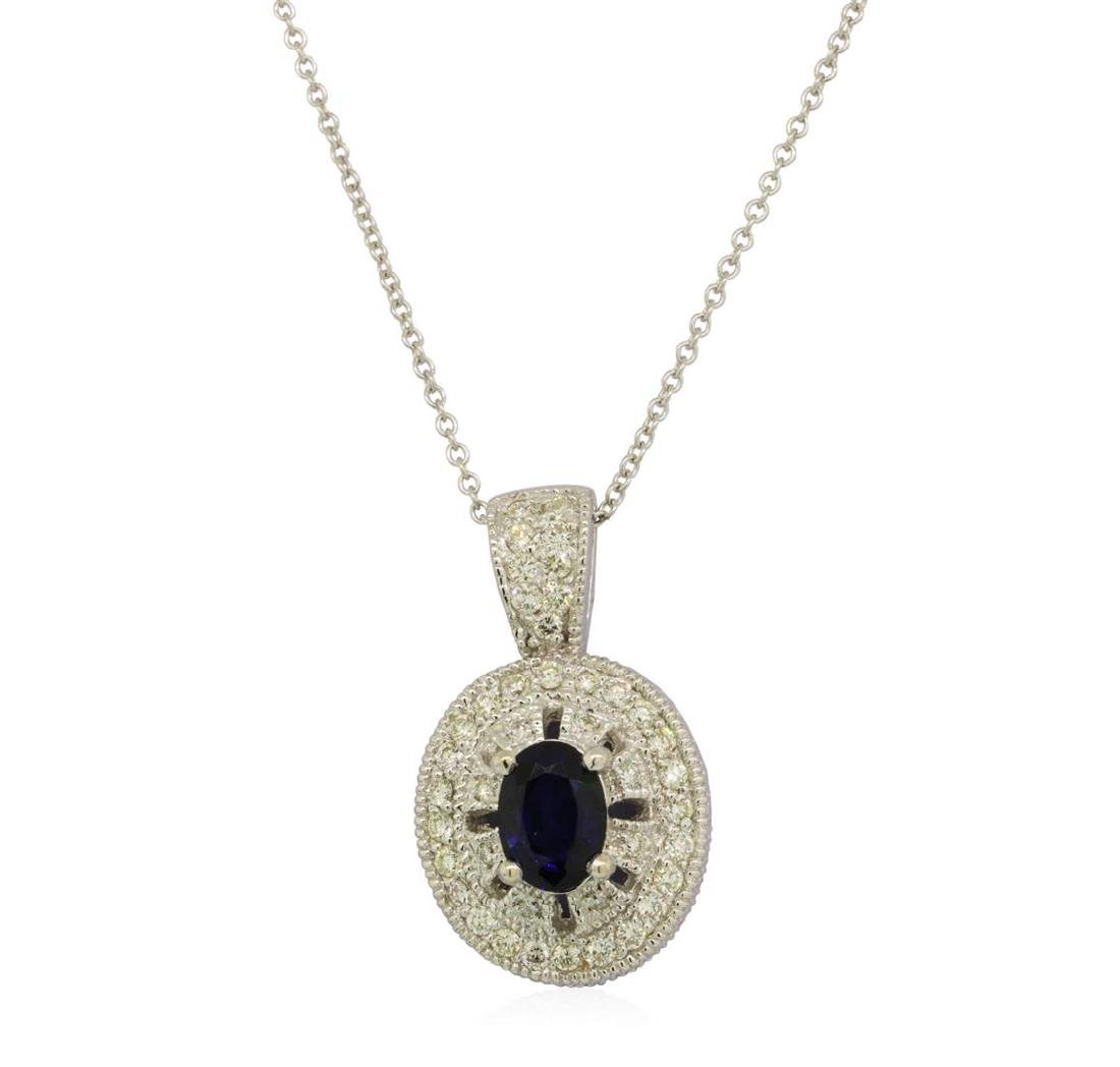 1.01 ctw Blue Sapphire And Diamond Pendant With Chain -
