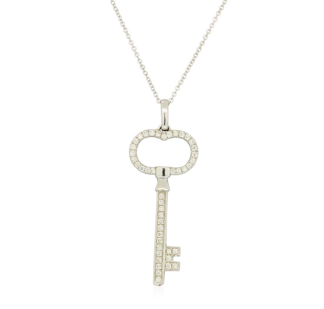 0.5 ctw Diamond Pendant With Chain - 14KT White Gold