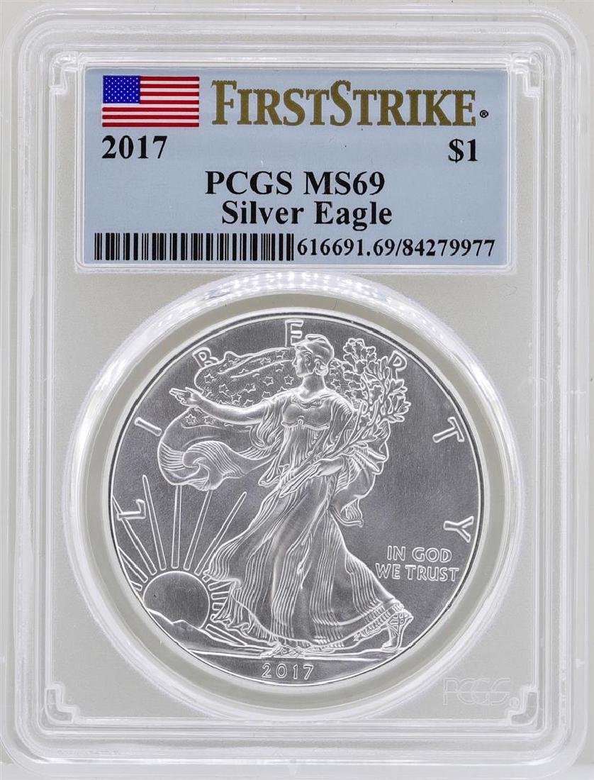 2017 $1 American Silver Eagle Coin PCGS MS69 First