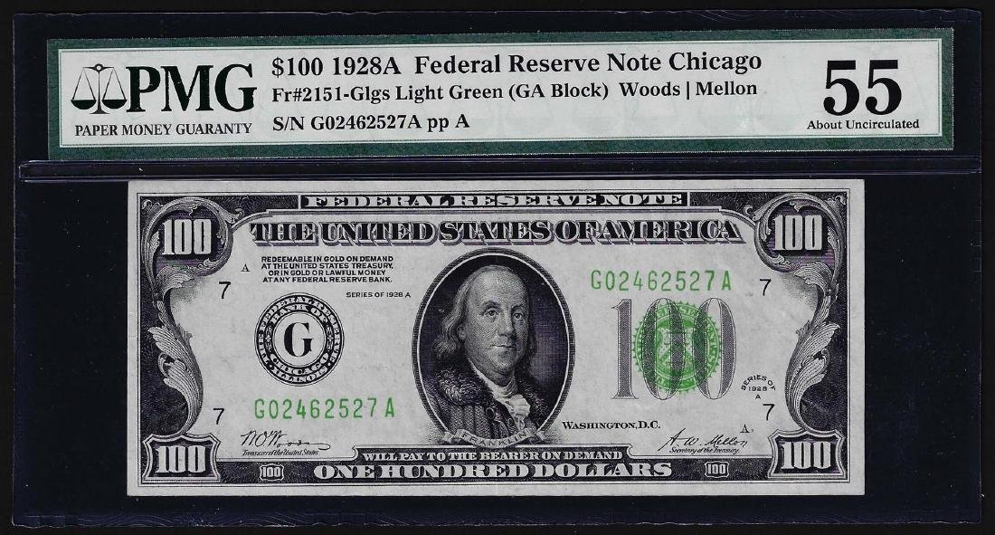 1928A $100 Federal Reserve Note Chicago Light Green