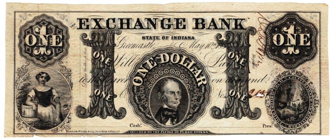 1850 $1 Exchange Bank of Indiana Obsolete Bank Note