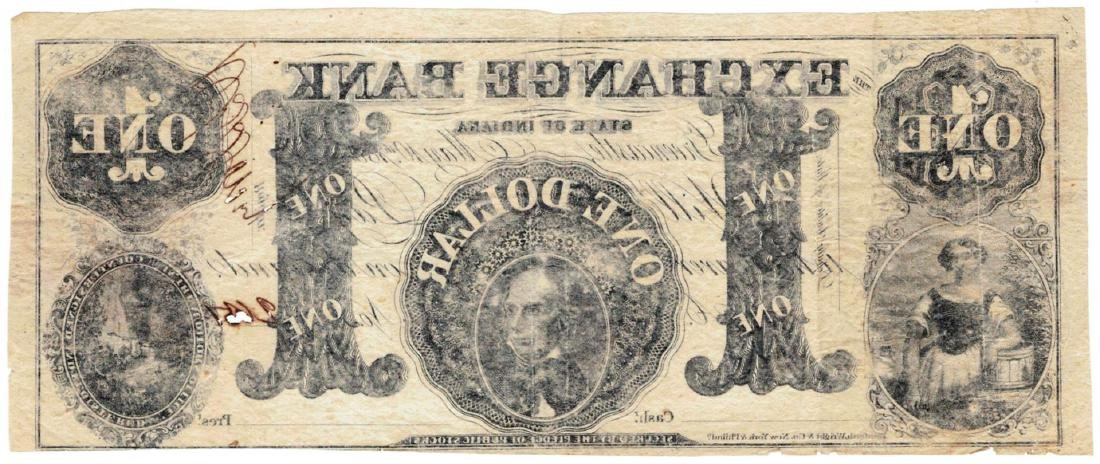 1850 $1 Exchange Bank of Indiana Obsolete Bank Note - 2