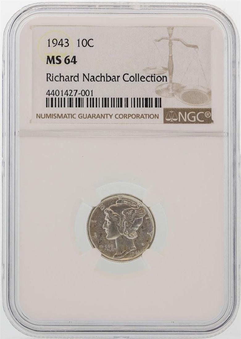 1943 Mercury Dime Coin NGC MS64