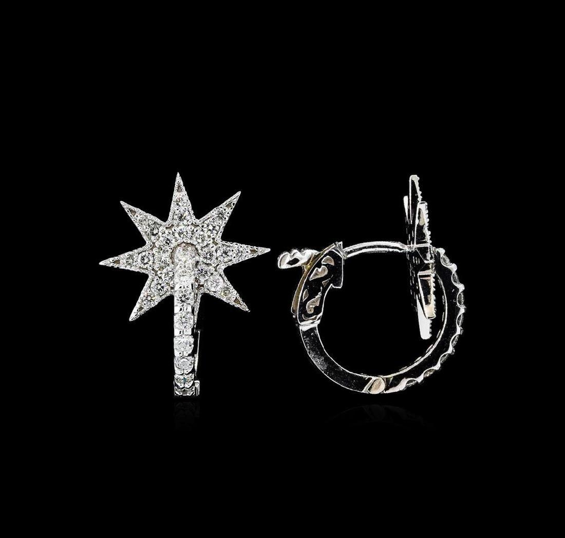 0.65 ctw Diamond Earrings - 14KT White Gold - 2
