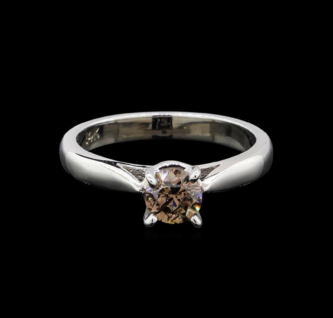 14KT White Gold 0.67 ctw Round Cut Fancy Brown Diamond - 2