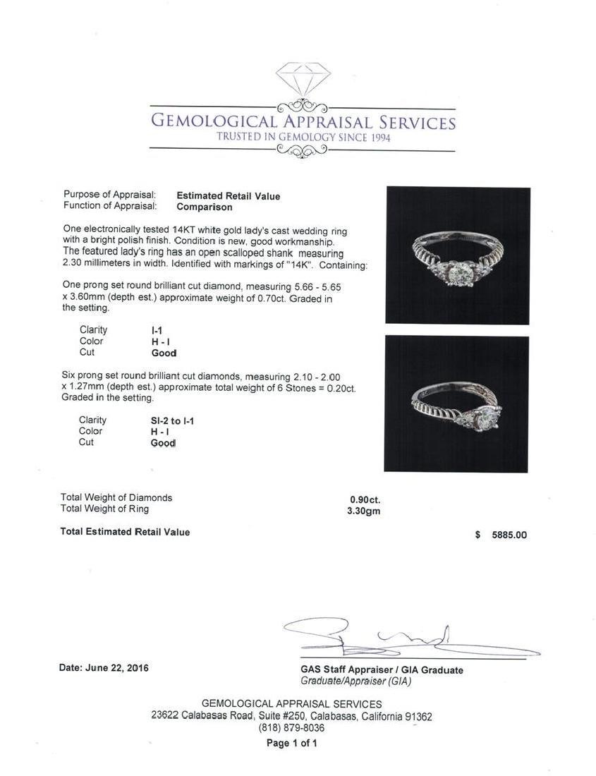 0.90 ctw Diamond Ring - 14KT White Gold - 5