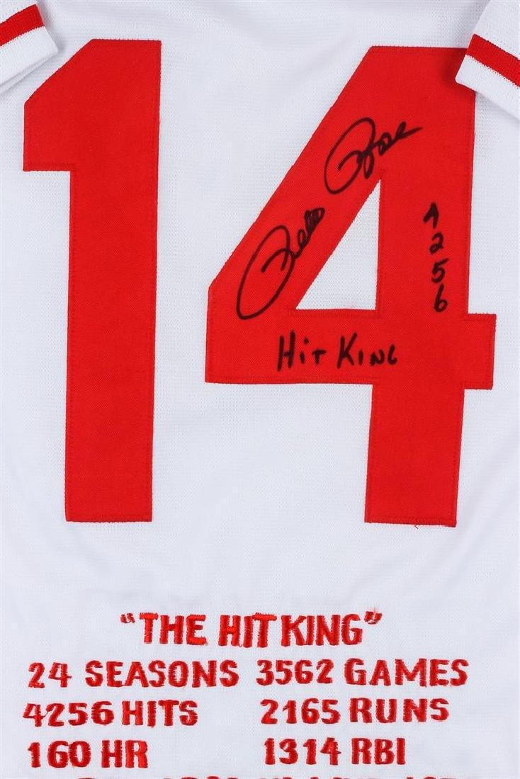 Cincinnati Reds Pete Rose Autographed Jersey With Stats - 2
