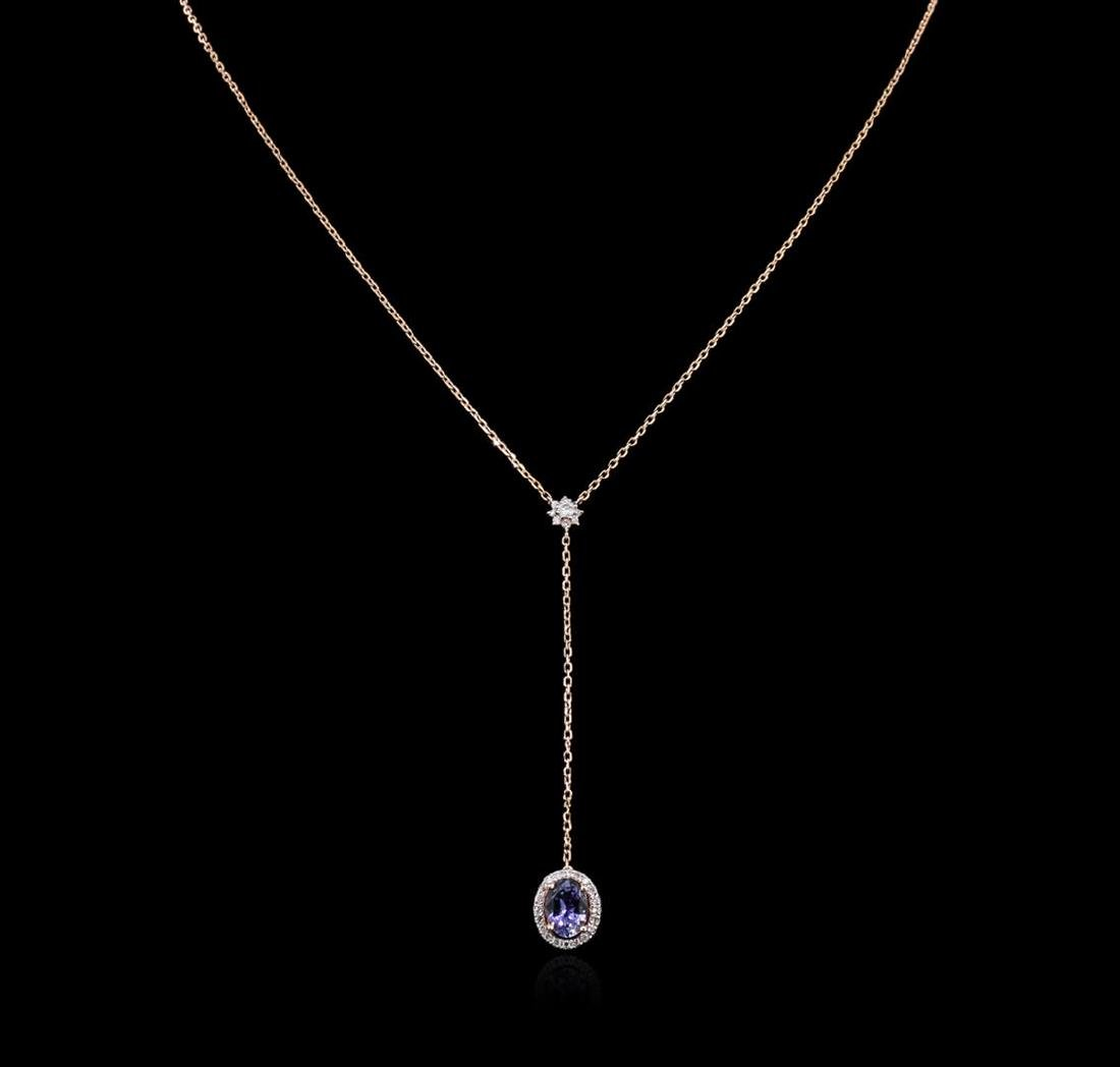 1.28 ctw Tanzanite and Diamond Necklace - 14KT Rose