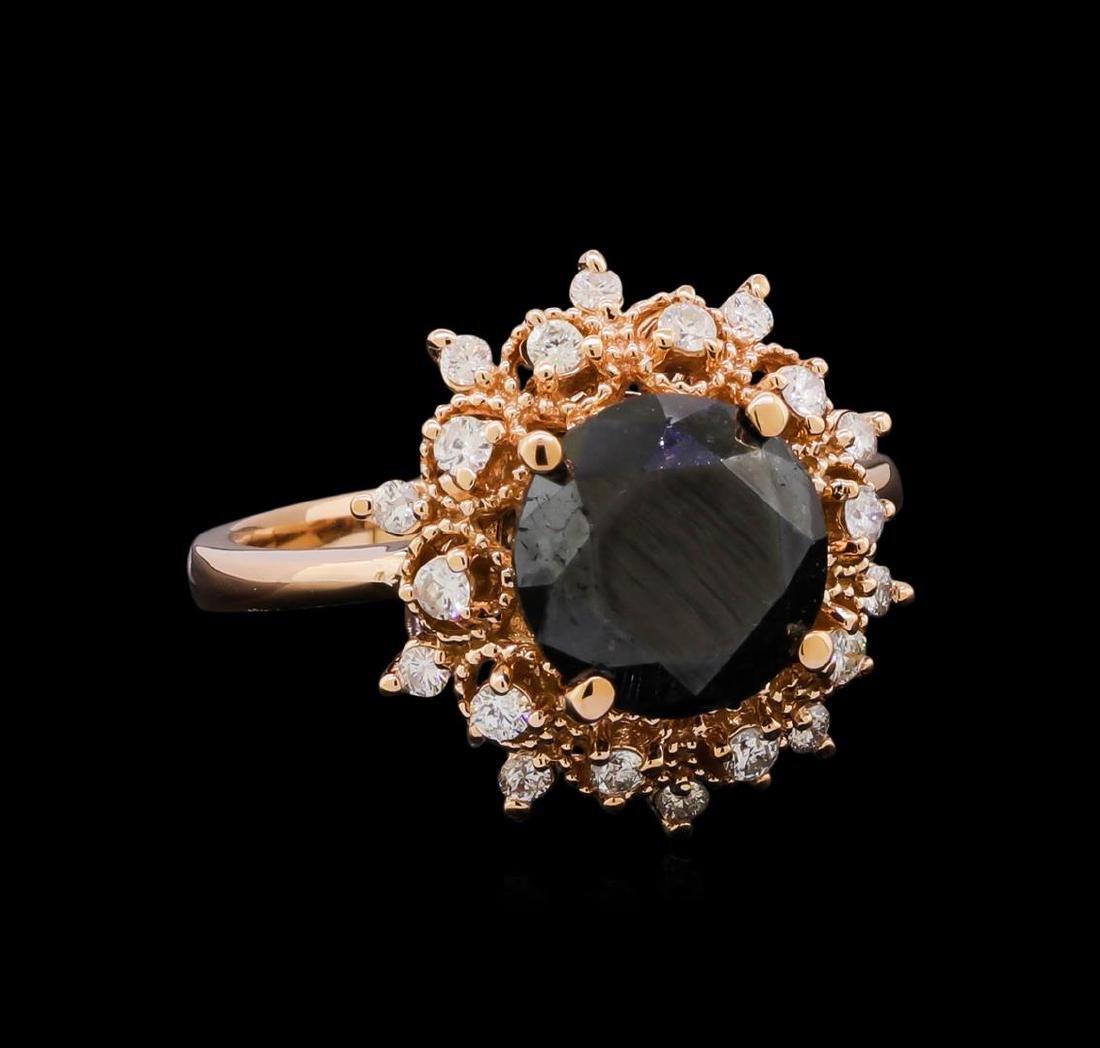 3.70 ctw Black Diamond Ring - 14KT Rose Gold