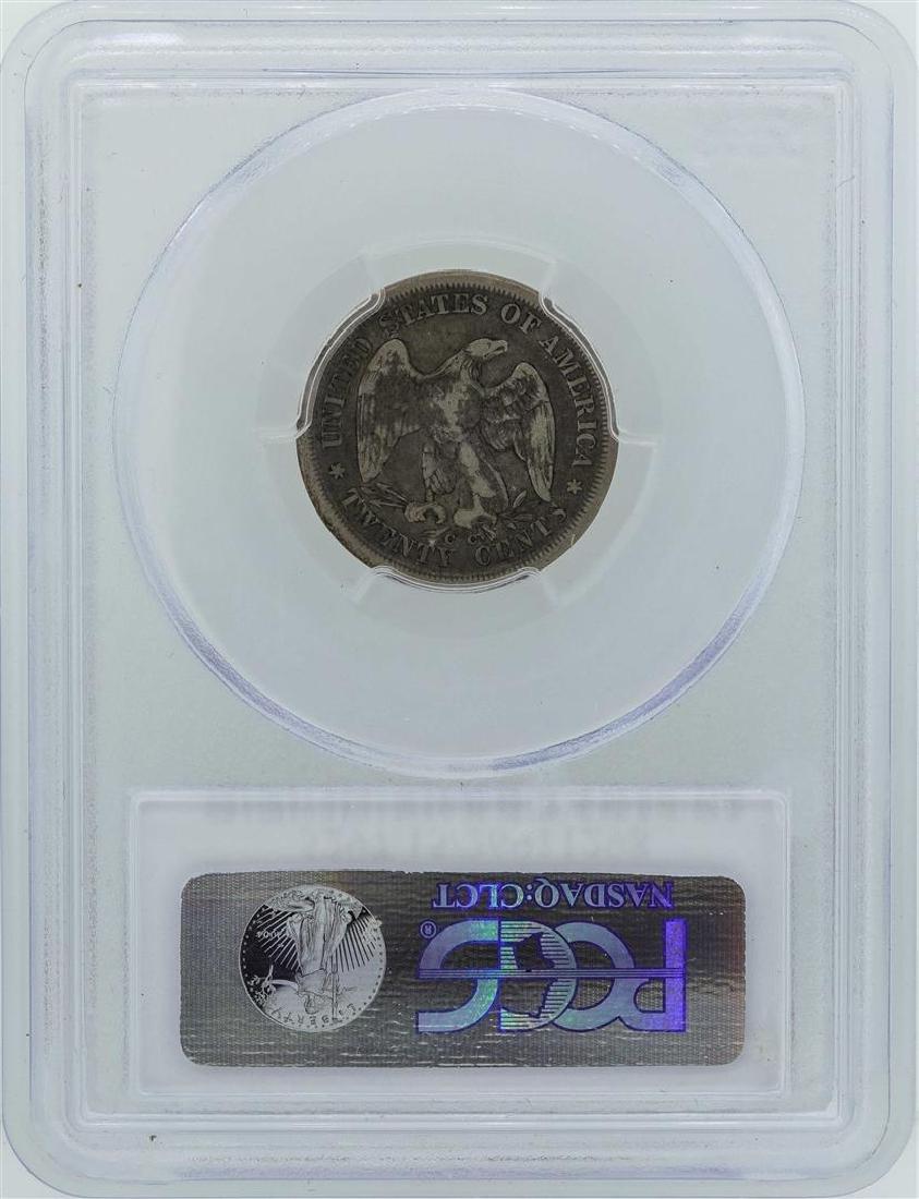 1875-CC Seated Liberty Twenty Cent Piece Coin PCGS F15 - 2
