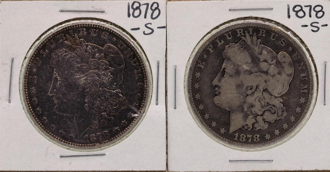 Lot of (2) 1878-S $1 Morgan Silver Dollar Coins