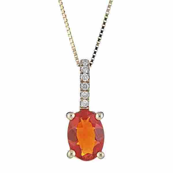 0.53 ctw Fire Opal and Diamond Pendant - 14KT Yellow