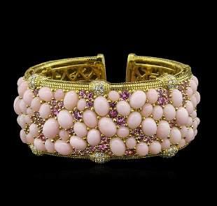 48.60 ctw Pink Opal, Pink Sapphire and Diamond Bracelet