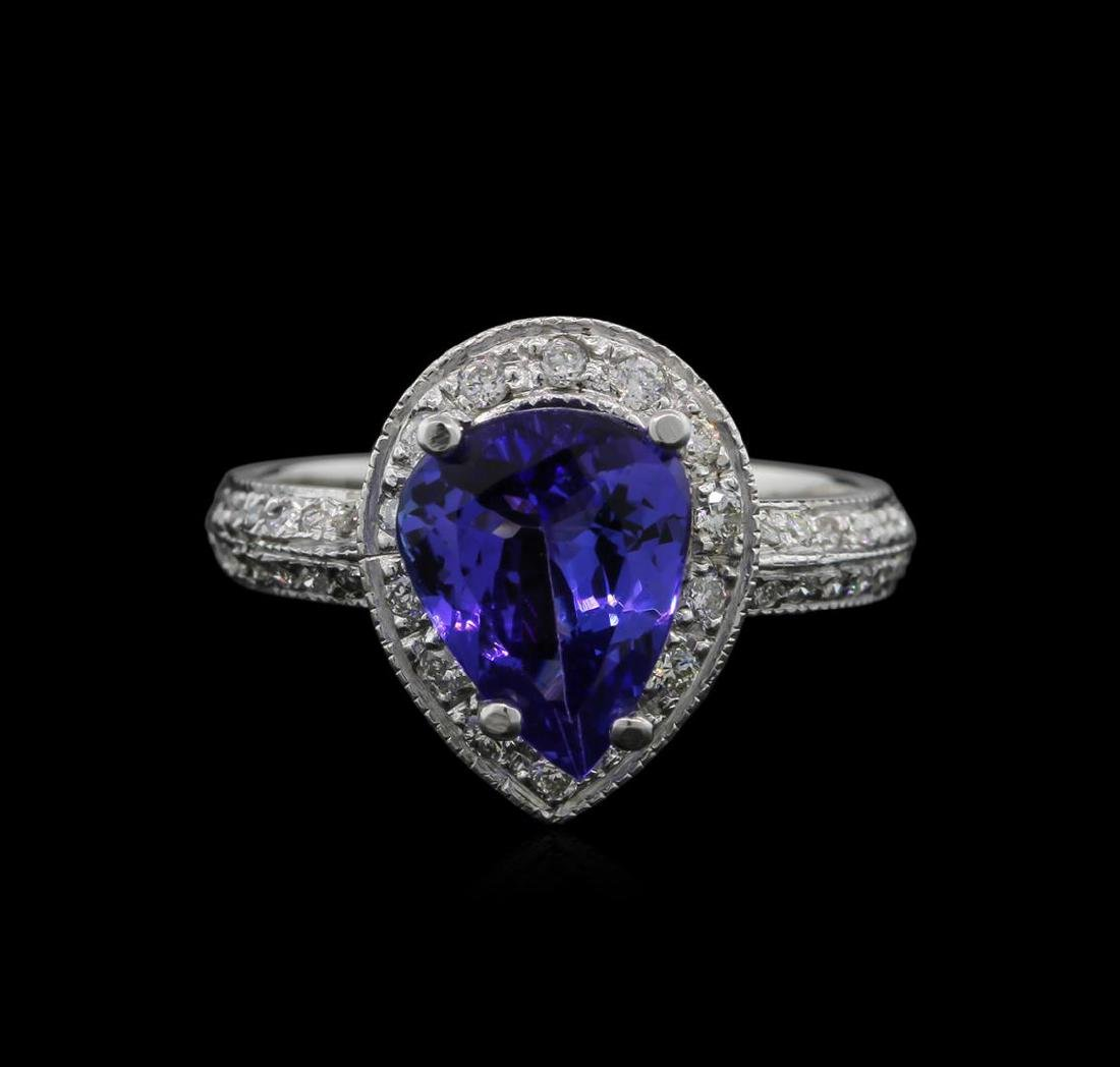2.60 ctw Tanzanite and Diamond Ring - 14KT White Gold - 2