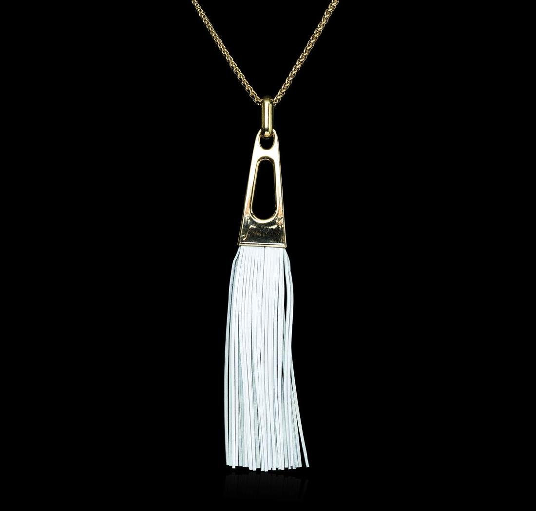 Leather Tassel Chain Necklace - Gold Plated - 2