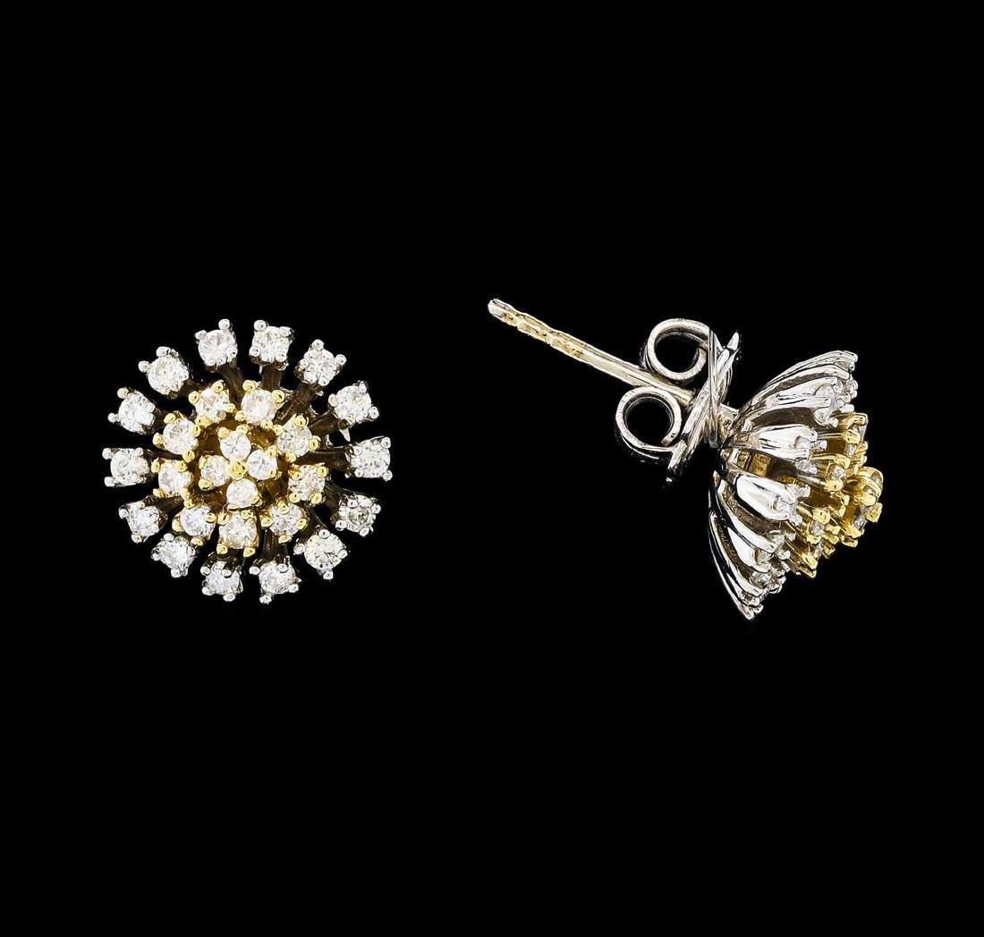 0.67 ctw Diamond Earrings - 14KT Two Tone Gold - 2