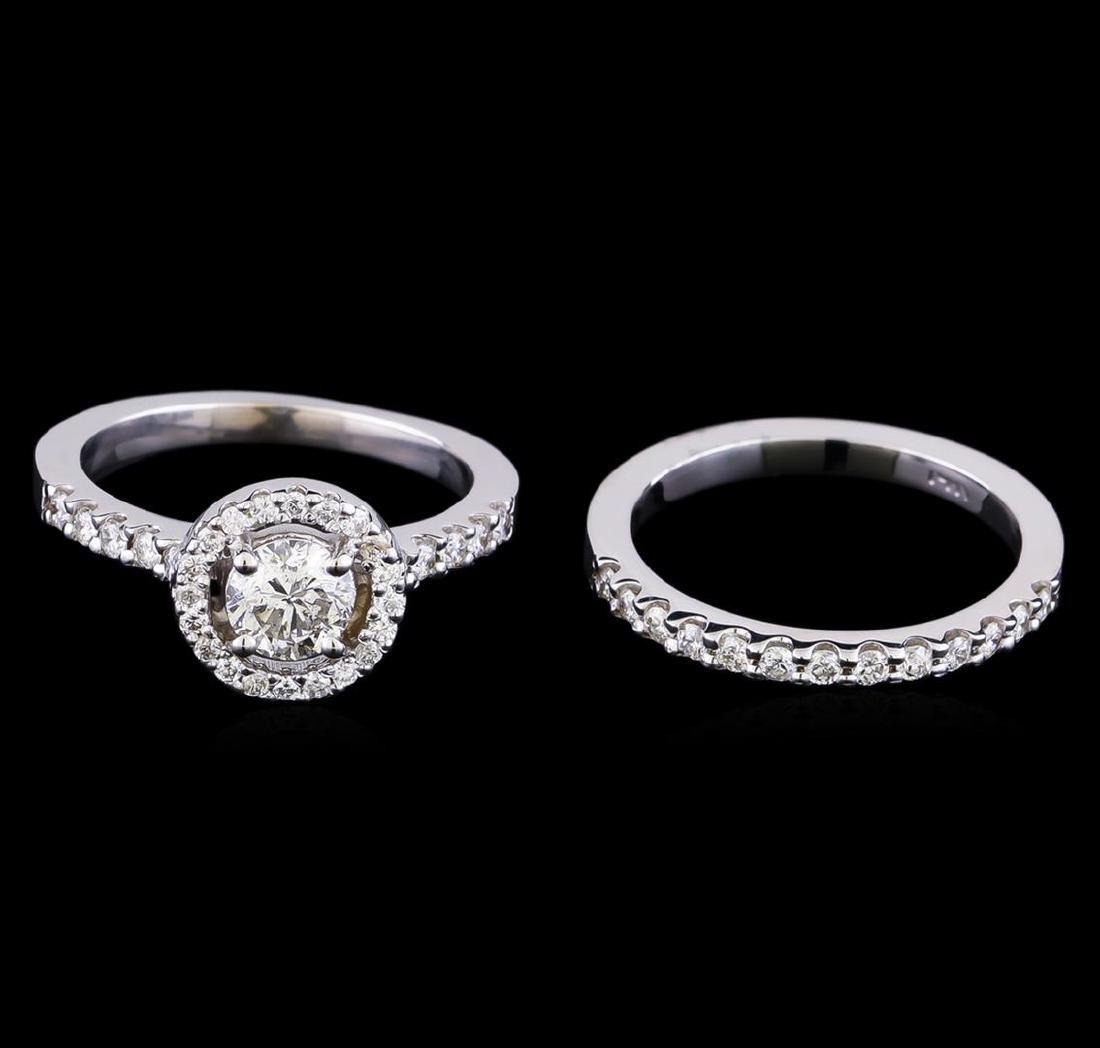 1.23 ctw Diamond Wedding Ring Set - 14KT White Gold - 2