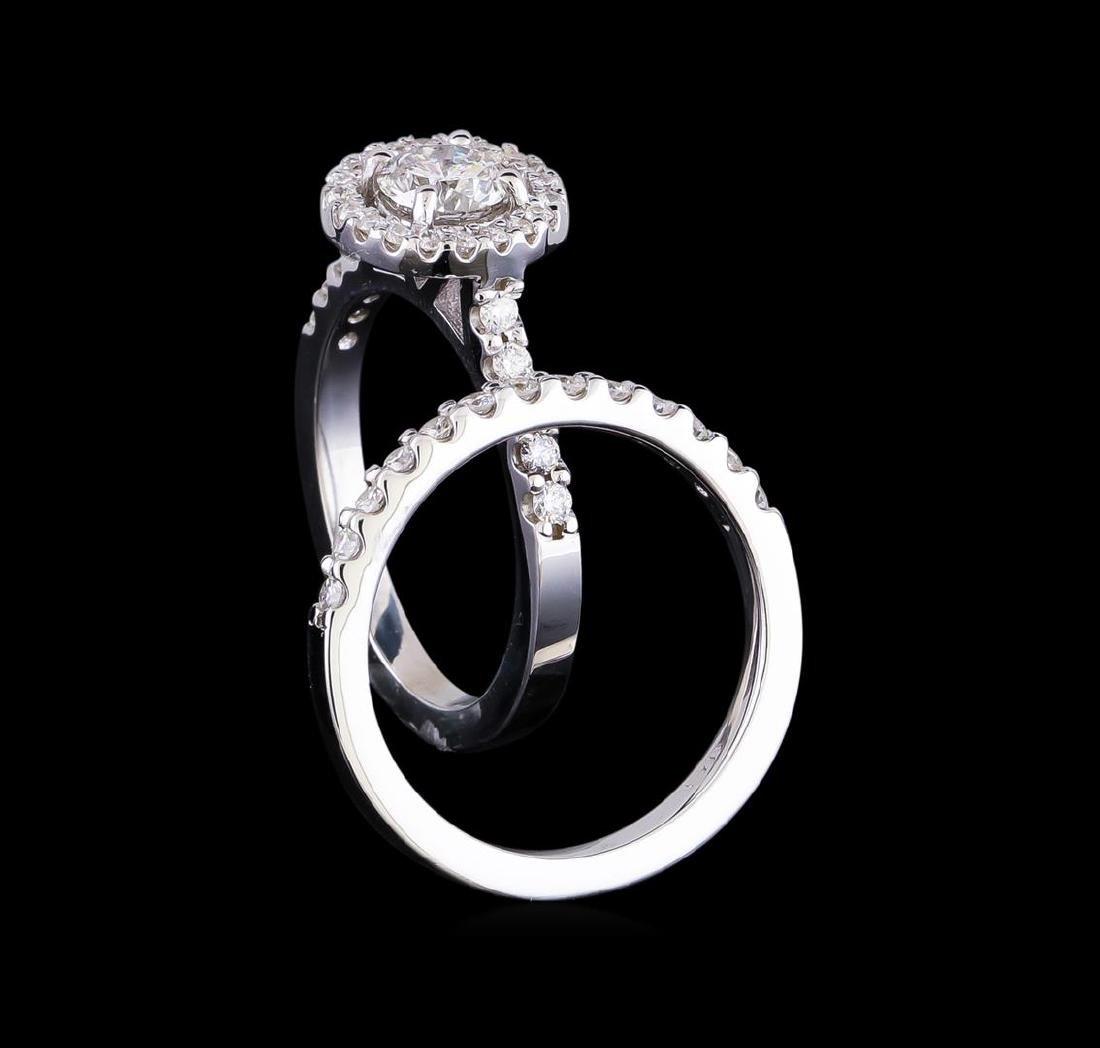 1.23 ctw Diamond Wedding Ring Set - 14KT White Gold - 3