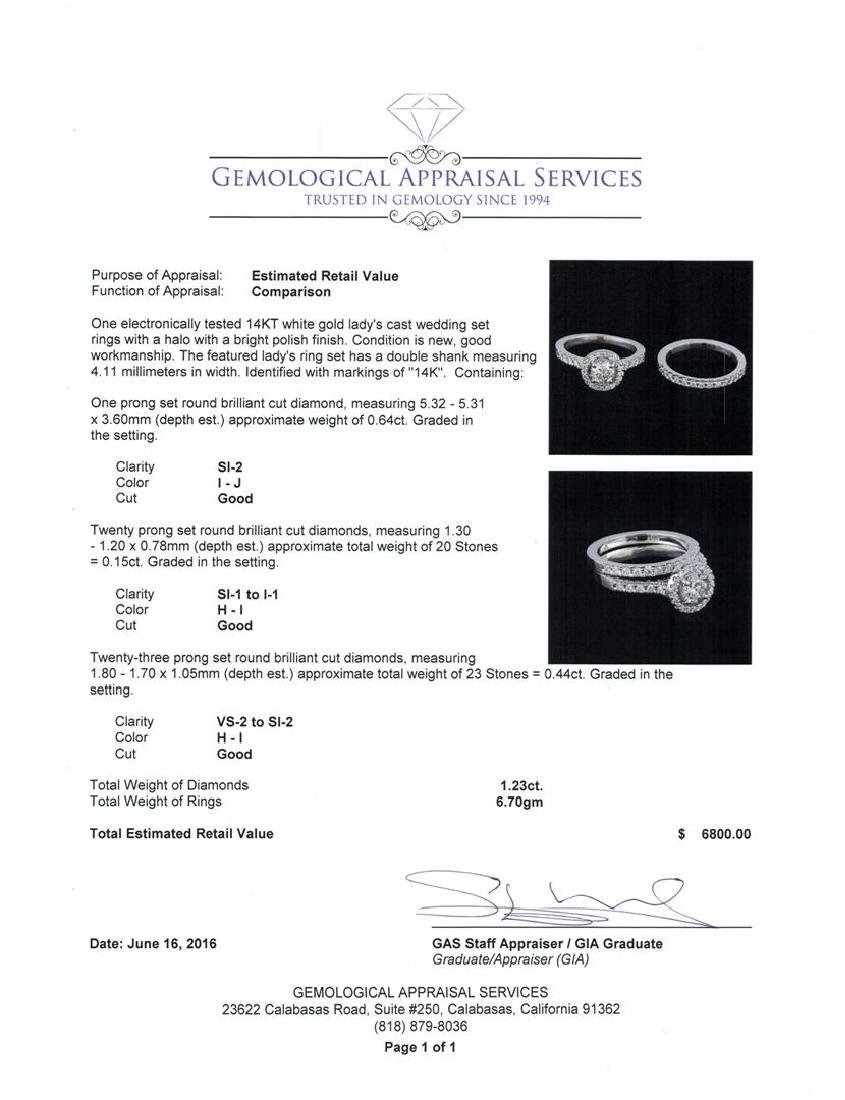 1.23 ctw Diamond Wedding Ring Set - 14KT White Gold - 4