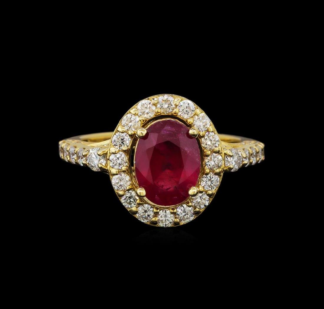14KT Yellow Gold 2.35 ctw Ruby and Diamond Ring - 2