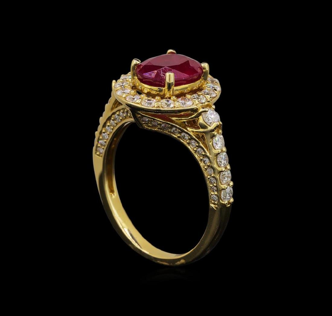 14KT Yellow Gold 2.35 ctw Ruby and Diamond Ring - 4