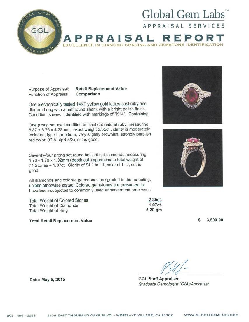 14KT Yellow Gold 2.35 ctw Ruby and Diamond Ring - 5