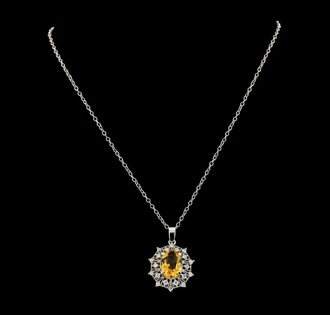 4.30 ctw Citrine and Diamond Pendant With Chain - 14KT