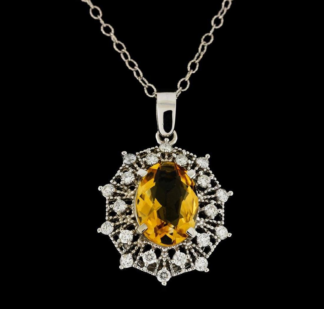 4.30 ctw Citrine and Diamond Pendant With Chain - 14KT - 2