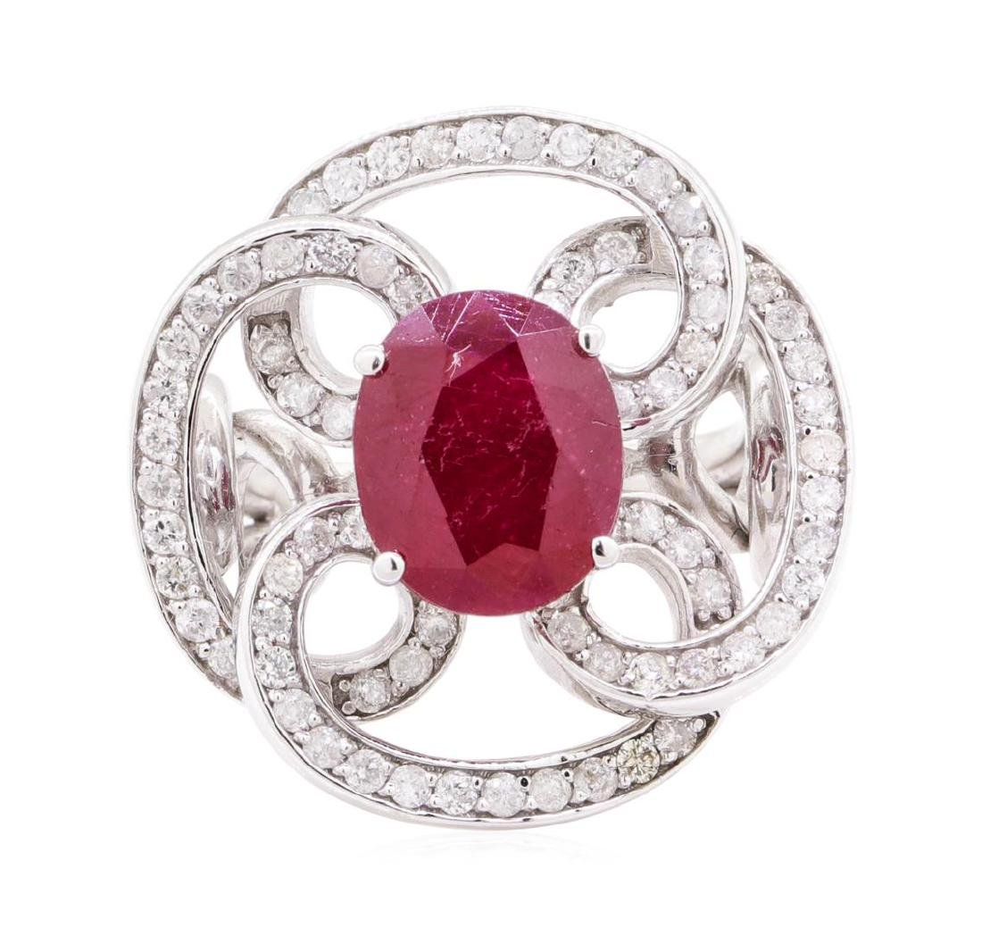 5.78 ctw Ruby And Diamond Ring - 14KT White Gold - 2