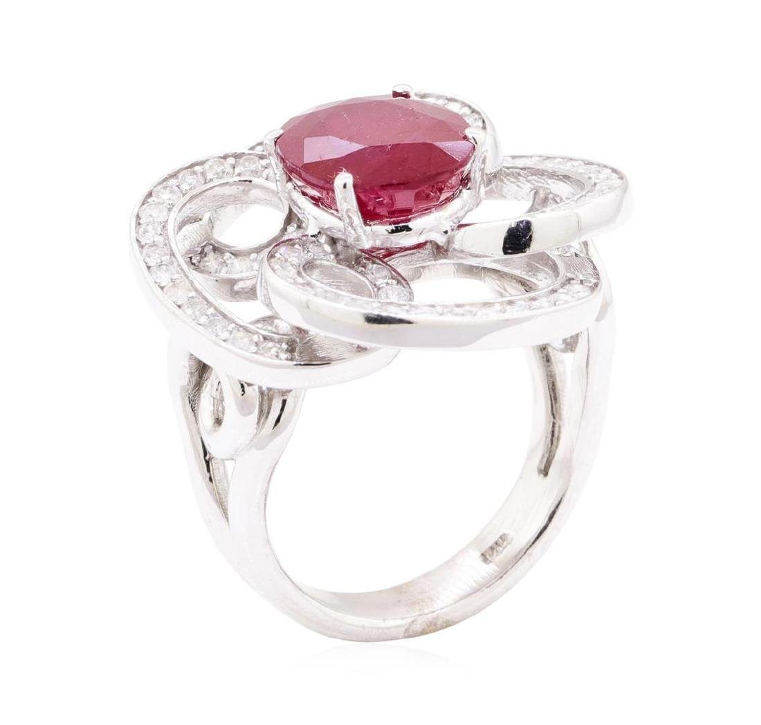 5.78 ctw Ruby And Diamond Ring - 14KT White Gold - 4