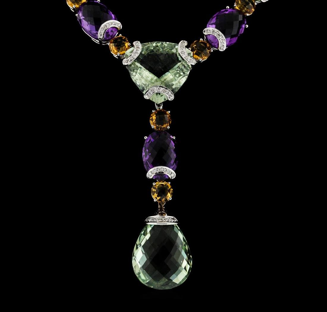 214.25 ctw Multi Gemstone Earrings and Necklace Suite - - 2