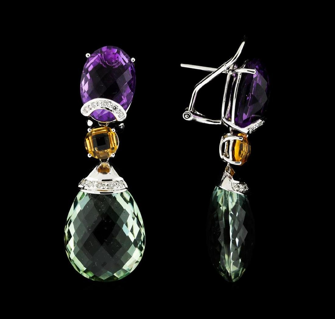 214.25 ctw Multi Gemstone Earrings and Necklace Suite - - 3